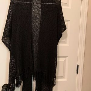 Coldwater Creek Knit Scarf Vest Black OS